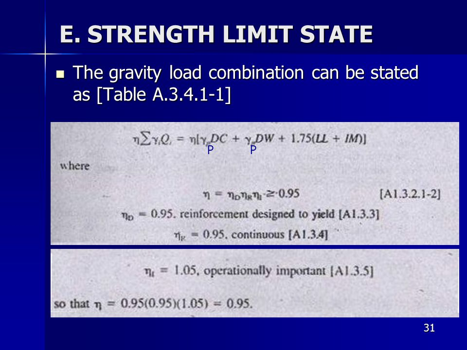 E. STRENGTH LIMIT STATE The gravity load combination can be stated as [Table A.3.4.1-1] P. P. Where.